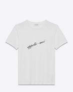SAINT LAURENT T-Shirt and Jersey D Boyfriend T-shirt with Appelle moi print in ivory cotton jersey f