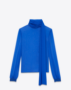 SAINT LAURENT Top e Bluse D Blusa con collo lavallière e maniche oversized con arricciature blu brillante in mussola f