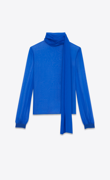 SAINT LAURENT Tops and Blouses D Blouse with a lavallière collar and oversized sleeves with gathers in bright blue muslin a_V4