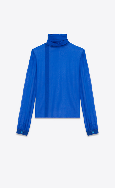 SAINT LAURENT Tops and Blouses D Blouse with a lavallière collar and oversized sleeves with gathers in bright blue muslin b_V4