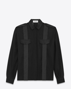 Wide-sleeved shirt in cotton voile and satin detailing