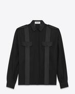 SAINT LAURENT Tops et blouses D Chemise à manches larges en voile de coton et détails satinés f