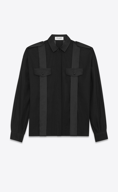SAINT LAURENT Tops and Blouses Woman Wide-sleeved shirt in cotton voile and satin detailing a_V4