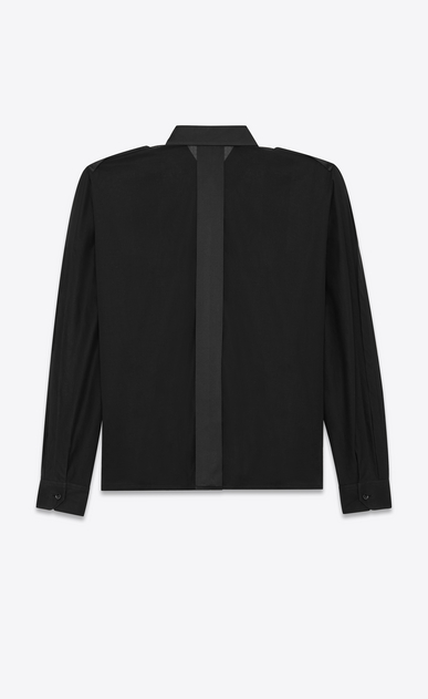 SAINT LAURENT Tops and Blouses Woman Wide-sleeved shirt in cotton voile and satin detailing b_V4