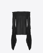 Smocked top with oversized sliding sleeves in black washed silk-georgette