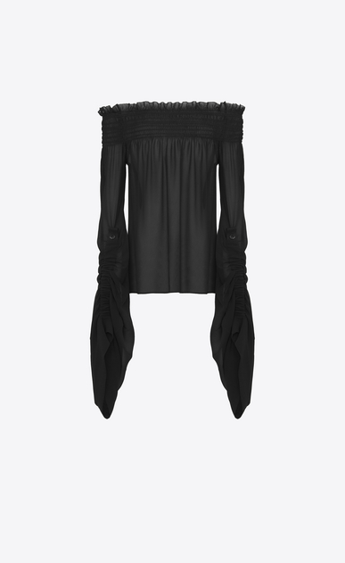 SAINT LAURENT Tops and Blouses D Smocked top with oversized sliding sleeves in black washed silk-georgette a_V4