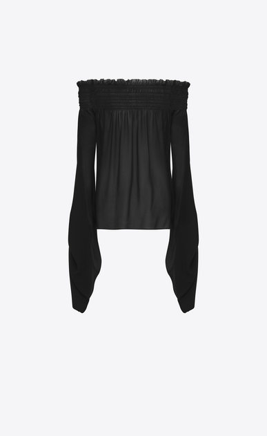 SAINT LAURENT Tops and Blouses D Smocked top with oversized sliding sleeves in black washed silk-georgette b_V4
