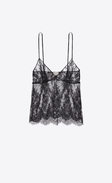 SAINT LAURENT Tops and Blouses D Camisole in chantilly floral lace and black plumetis a_V4