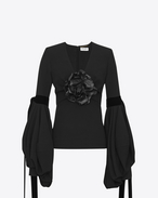 SAINT LAURENT Tops and Blouses D Plunging V-neck top with oversized sleeves in black sablé and a black leather flower f