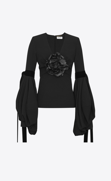 SAINT LAURENT Tops and Blouses D Plunging V-neck top with oversized sleeves in black sablé and a black leather flower a_V4
