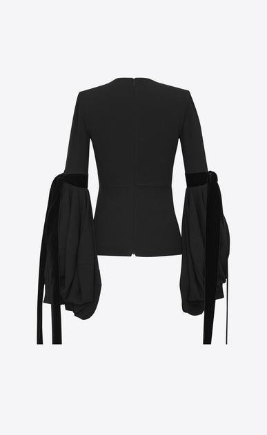 SAINT LAURENT Tops and Blouses D Plunging V-neck top with oversized sleeves in black sablé and a black leather flower b_V4