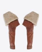 SAINT LAURENT RTW accessories D Aviator sleeves in shiny camel-color leather with removable ecru shearling lining f