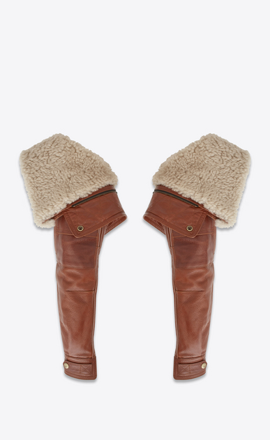 SAINT LAURENT RTW accessories D Aviator sleeves in shiny camel-color leather with removable ecru shearling lining a_V4