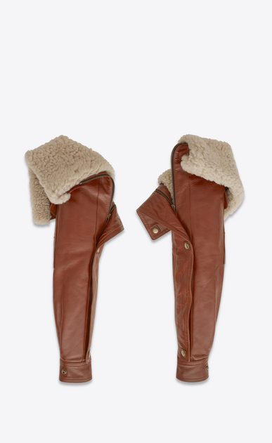 SAINT LAURENT RTW accessories D Aviator sleeves in shiny camel-color leather with removable ecru shearling lining b_V4