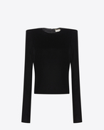 SAINT LAURENT Tops and Blouses D Top with square-cut shoulders in black velvet f