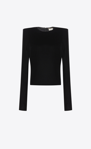 SAINT LAURENT Tops and Blouses D Top with square-cut shoulders in black velvet a_V4