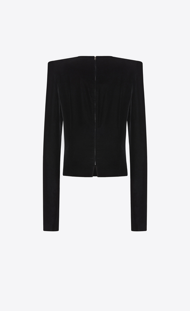 SAINT LAURENT Tops and Blouses D Top with square-cut shoulders in black velvet b_V4