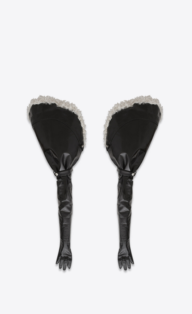SAINT LAURENT RTW accessories D Cuffed gloves with fastening in shiny black leather and ecru shearling b_V4