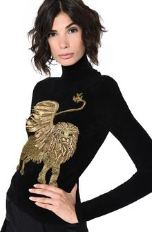 ALBERTA FERRETTI Black sweater with winged lion Jumper Woman a