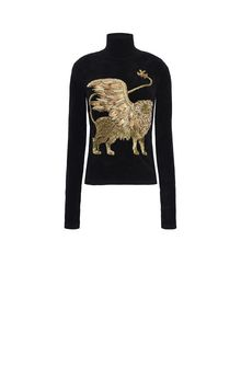 ALBERTA FERRETTI Black sweater with winged lion Sweater D e