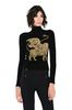 ALBERTA FERRETTI Black sweater with winged lion Jumper Woman r
