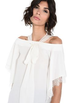 ALBERTA FERRETTI Crepe de chine and lace top Blouse D a