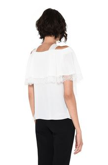 ALBERTA FERRETTI Crepe de chine and lace top Blouse D d