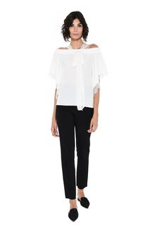 ALBERTA FERRETTI Crepe de chine and lace top Blouse D f