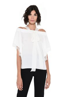 ALBERTA FERRETTI Crepe de chine and lace top Blouse D r