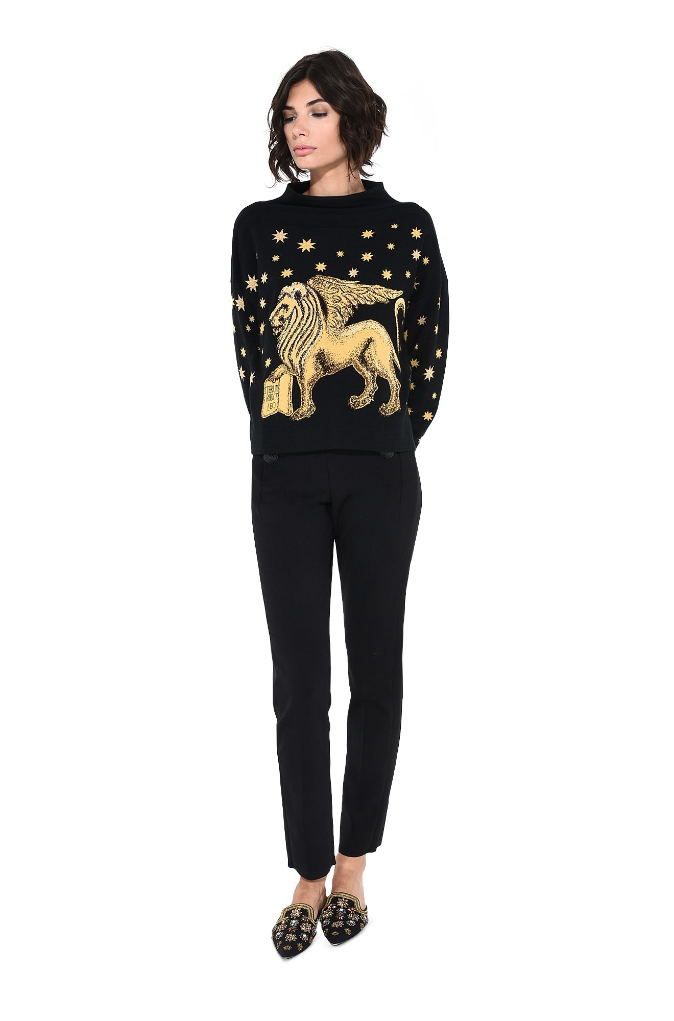Blue sweater with winged lion