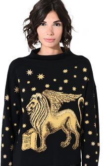 ALBERTA FERRETTI Blue sweater with winged lion Jumper Woman a