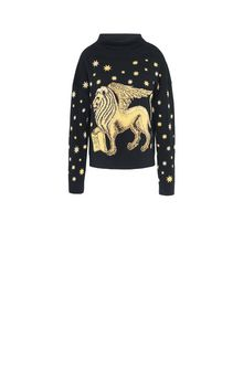 ALBERTA FERRETTI Blue sweater with winged lion Jumper Woman e