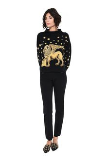 ALBERTA FERRETTI Blue sweater with winged lion Jumper Woman f