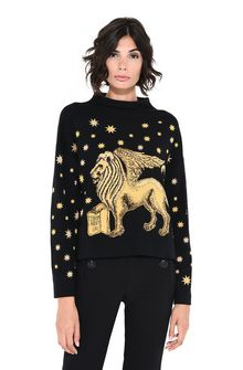 ALBERTA FERRETTI Blue sweater with winged lion Sweater D r