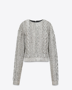 SAINT LAURENT Tops and Blouses D Top in black silk georgette with all-over embroidered white crystals f