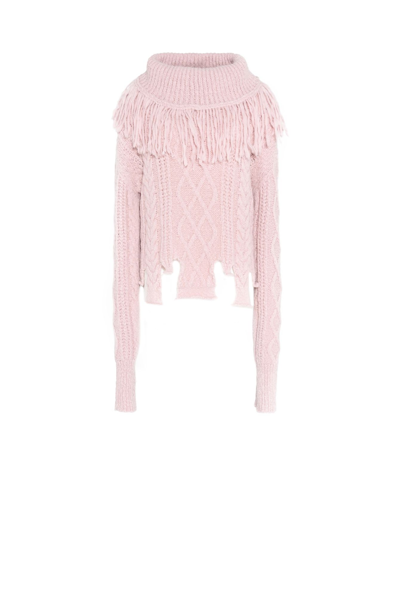 Pink over-sized sweater with fringe