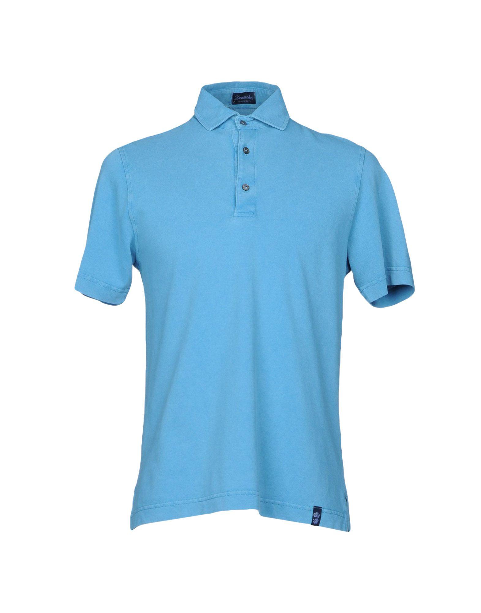 《送料無料》DRUMOHR メンズ ポロシャツ ターコイズブルー XXS コットン 100%