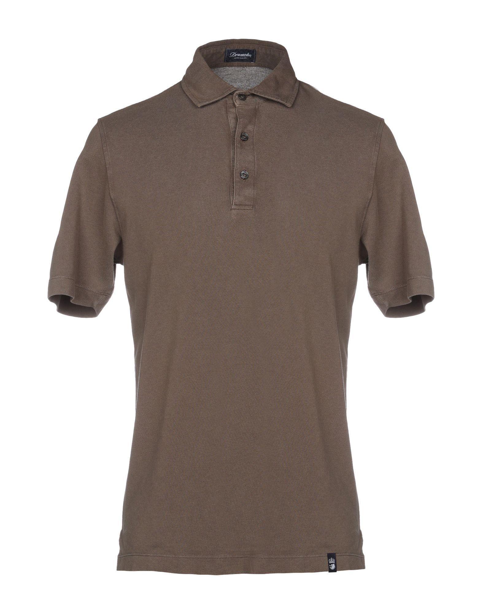 《送料無料》DRUMOHR メンズ ポロシャツ ダークブラウン XXS コットン 100%