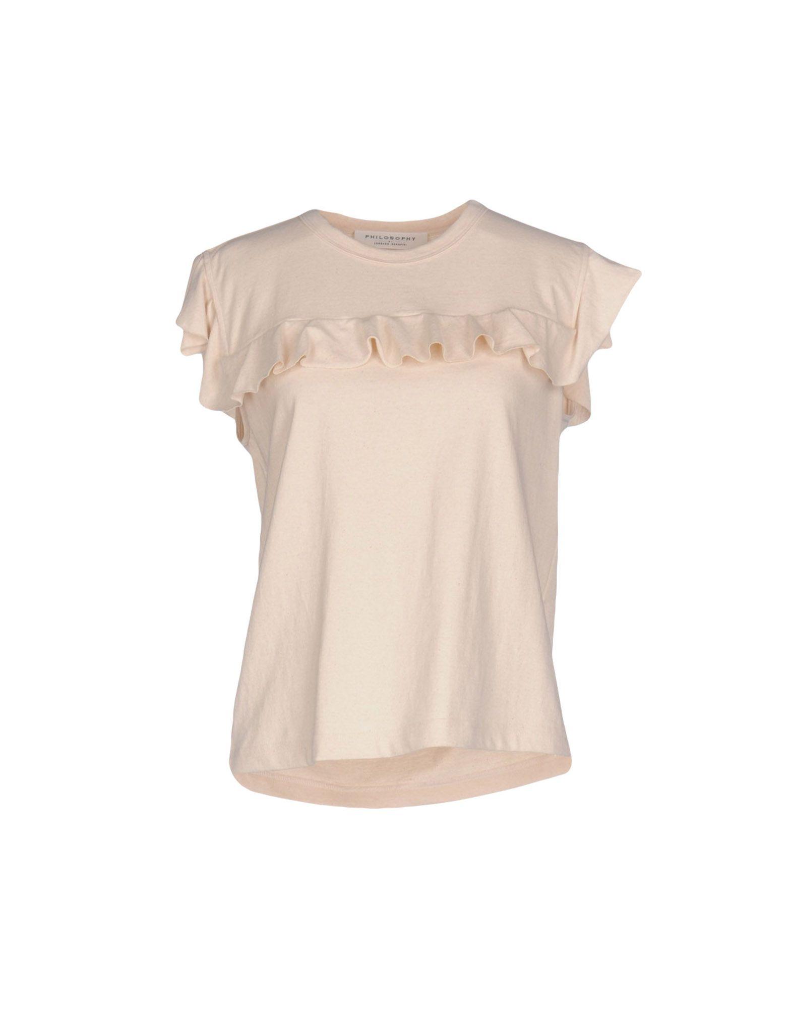 PHILOSOPHY di LORENZO SERAFINI T-shirts. Jersey Ruffles Logo Solid color Round collar Short sleeves No pockets. 100% Cotton