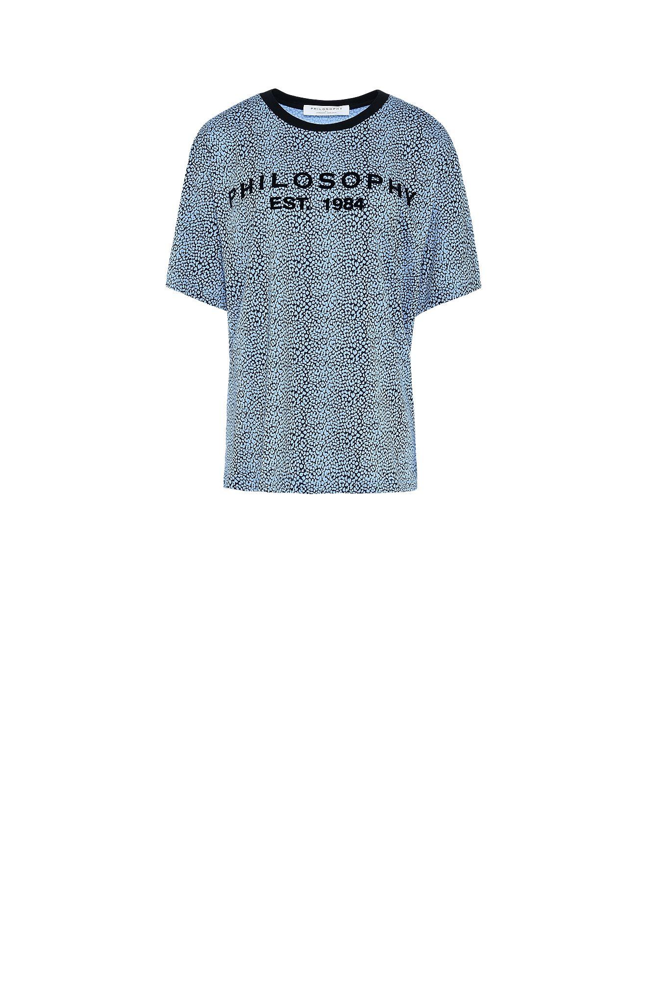 小さな斑点柄青Tシャツ
