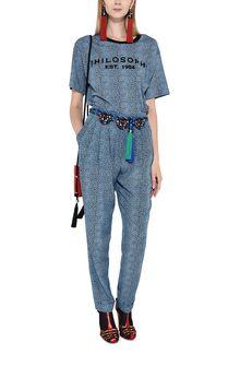 PHILOSOPHY di LORENZO SERAFINI Bluette T-shirt with micro animal pattern T-shirt Woman a