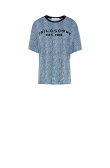 PHILOSOPHY di LORENZO SERAFINI Bluette T-shirt with micro animal pattern T-shirt Woman f