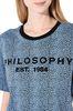 PHILOSOPHY di LORENZO SERAFINI Bluette T-shirt with micro animal pattern T-shirt Woman e