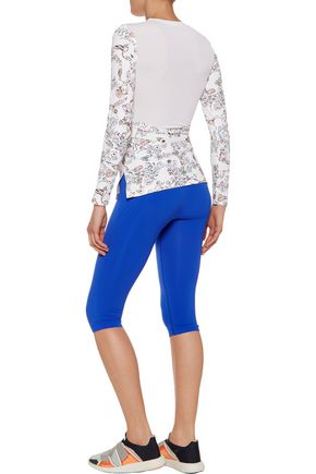 LUCAS HUGH Mesh-paneled printed stretch top