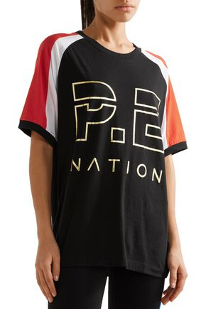 P.E NATION One-Time color-block cotton-jersey T-shirt