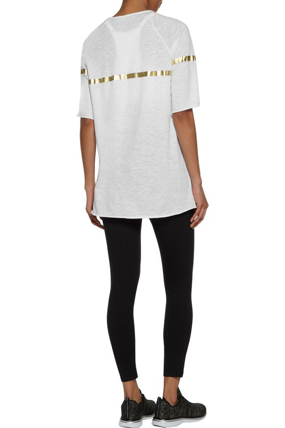 End Zone metallic printed slub cotton-jersey T-shirt | P.E NATION | Sale up  to 70% off | THE OUTNET