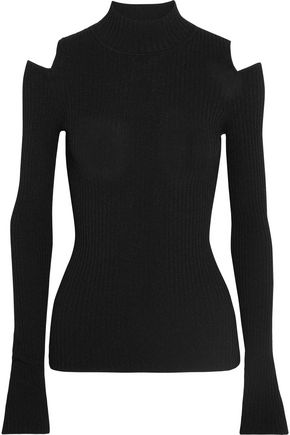 LIVE THE PROCESS Cutout ribbed stretch-knit top