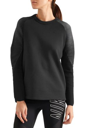 ... NIKE Tech Fleece stretch knit-paneled cotton-blend sweatshirt ...
