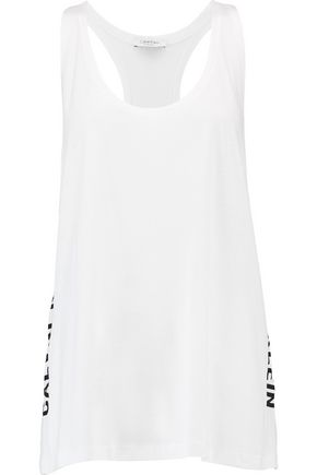 CALVIN KLEIN Printed cotton and modal-blend jersey tank