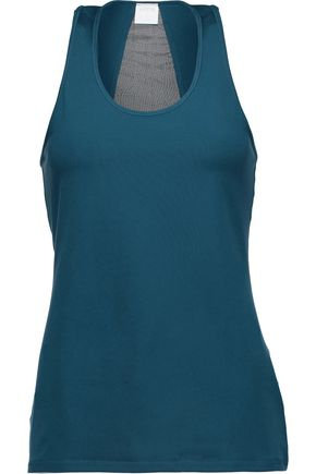 YUMMIE by HEATHER THOMSON® Hudson mesh-paneled stretch-cady tank